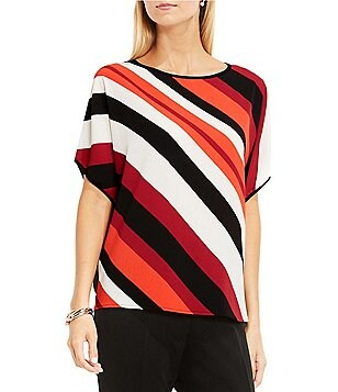 Vince Camuto Dolman Sleeve Nautical Band Mix Media Top