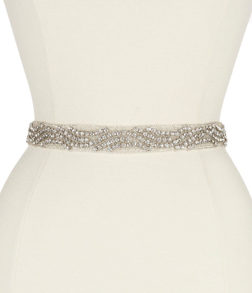 Nina Pazely Art Deco Satin & Crystal Bridal Sash