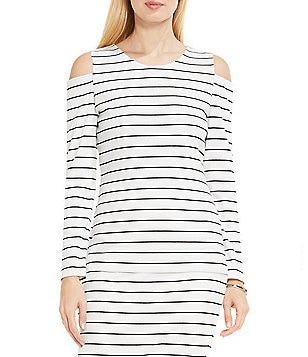 Vince Camuto Crew Neck Cold-Shoulder Long Sleeve Stripe Printed Top