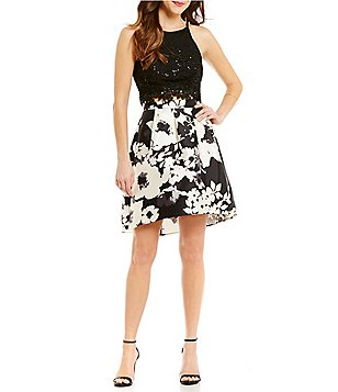 I.N. San Francisco Floral Print Skirt Two-Piece High-Low Dress