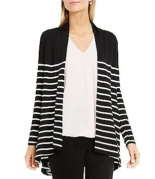 Vince Camuto Long Sleeve Clipper Stripe Panel Cardigan