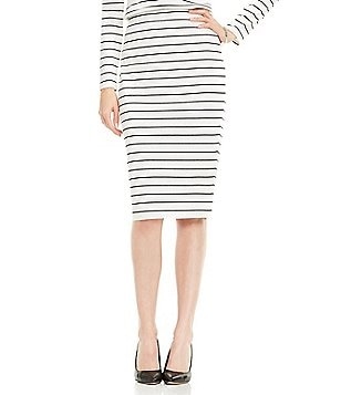 Vince Camuto Sail Mini Stripe Midi Tube Skirt