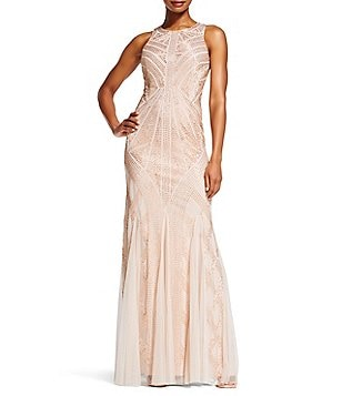 Adrianna Papell Petite Halter Neck Sleeveless Beaded Gown