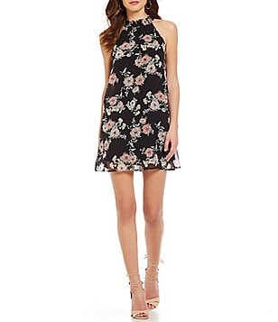 As U Wish Mock Neckline Floral Shift Dress