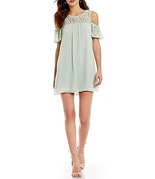As U Wish Lace Yoke Cold Shoulder Shift Dress