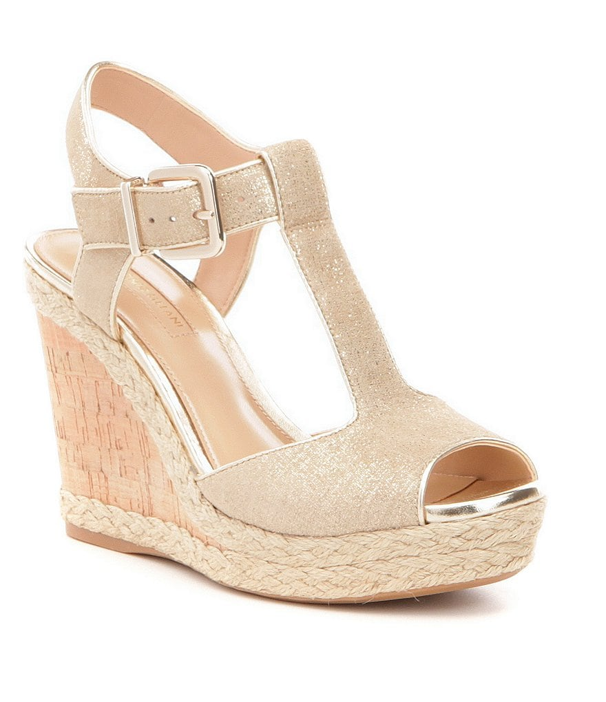 Antonio Melani Yardley T-Strap Etched Canvas Wedge Sandals