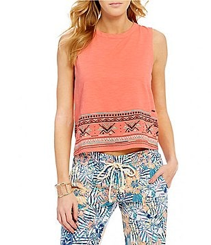 Roxy Shadows And Light Embroidered Knit Tank Top