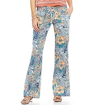 Roxy Floral Printed Oceanside Linen Pleated Pants