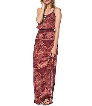 O´Neill Kravitz Printed Strappy-Back Smocked Maxi Dress