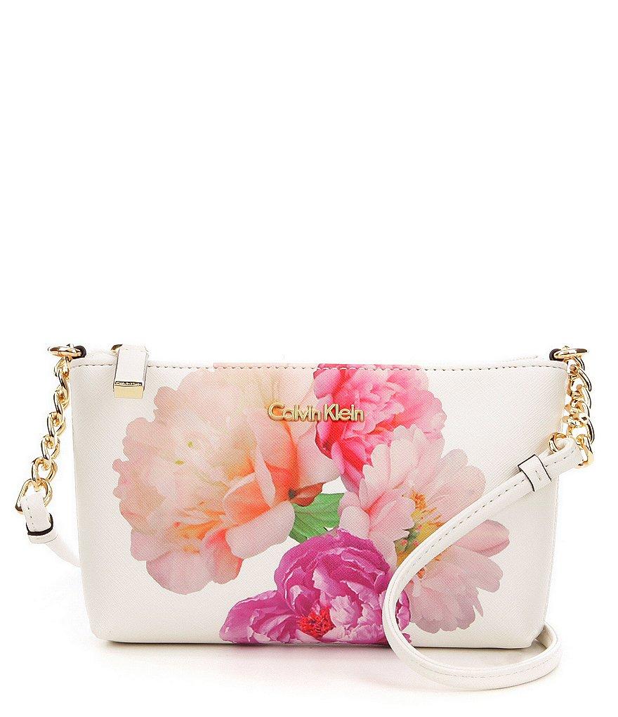 Calvin Klein Floral Saffiano Cross-Body Bag | Dillards