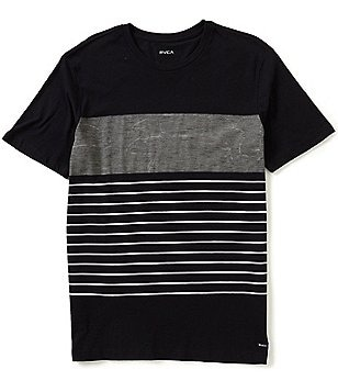 RVCA Color Block/Static-Stripe Short-Sleeve Crewneck Pocket Graphic Tee
