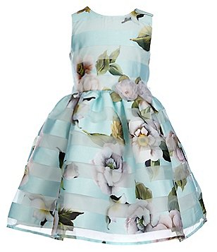 Pippa & Julie Little Girls 2T-6X Shadow-Striped Floral Dress