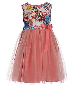 Pippa & Julie Little Girls 2T-6X Printed Bow-Waist Dress