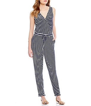 Copper Key Striped Knit Tie-Waist Jumpsuit