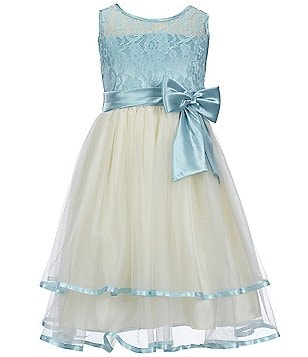 Jayne Copeland Big Girls 7-16 Color Block Lace Satin-Sash Bow-Detail Tiered Dress