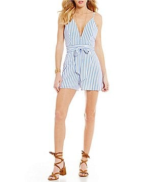 GB Pin Stripe V-Neck Tie-Sash Romper
