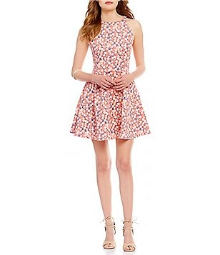 Copper Key Floral Printed Halter Neck Skater Dress