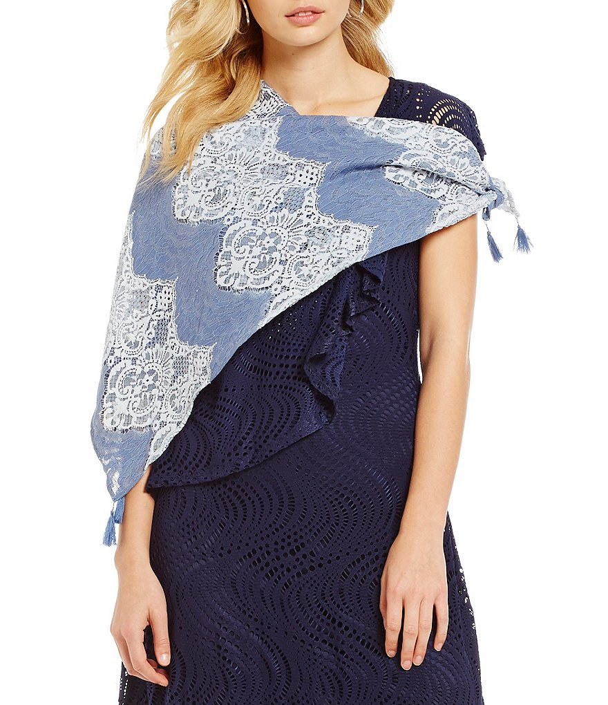 Reba Tasseled Two-Tone Lace Square Scarf