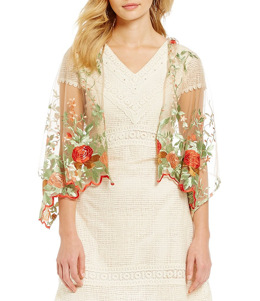 Reba Floral-Embroidered Sheer Mesh Scarf