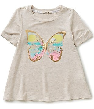 Copper Key Little Girls 4-6X Foiled Butterfly Graphic Tee