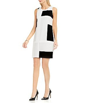 Vince Camuto Abstract Grid Crew Neck Sleeveless Dress