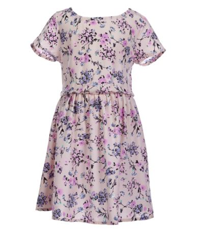 Copper Key Little Girls 4-6X Short-Sleeve Floral-Print Knit Skater Dress Di...