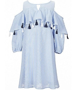 Copper Key Big Girls 7-16 Cold Shoulder Striped Woven Trapeze Dress
