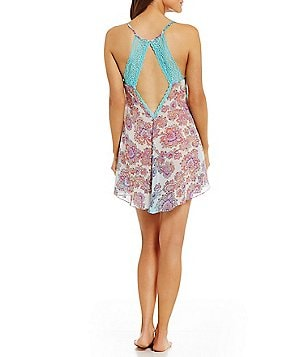 In Bloom by Jonquil Paisley Chiffon & Lace Open-Back Chemise