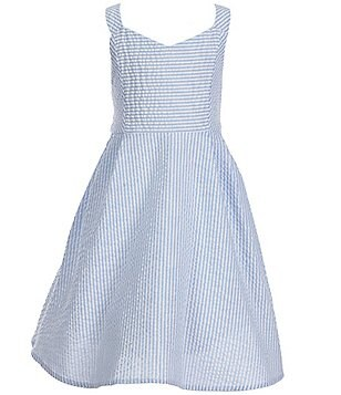 Rare Editions Little Girls 2T-6X Seersucker Striped Bow Back Skater Dress