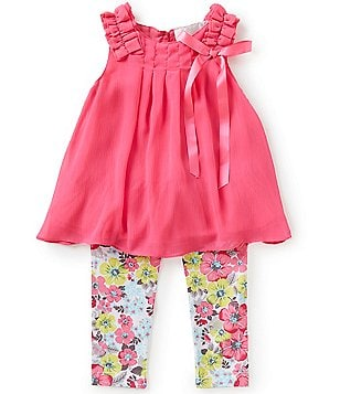 Rare Editions Little Girls 2T-6X Ruffle Chiffon Top & Floral Leggings Set