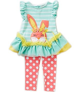 Rare Editions Little Girls 2T-6X Easter Bunny Striped Ruffled Top & Dotted Leggings Set
