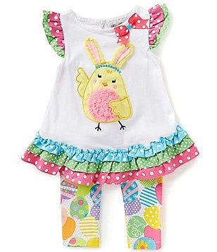 Rare Editions Little Girls 2T-6X Bunny Chick Easter Top & Printed Leggings Set
