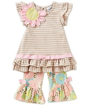 Rare Editions Little Girls 2T-6X Striped Floral-Appliqué Top & Printed Pants Set