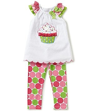 Rare Editions Little Girls 2T-6X Cupcake Ruffled Top & Dotted Pants Set