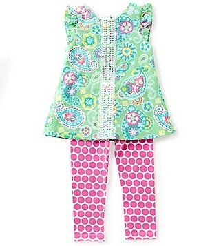 Counting Daisies Little Girls 2T-6X Paisley-Printed Cap-Sleeve Top & Dotted Leggings Set