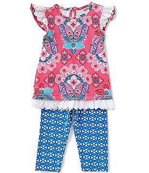 Counting Daisies Little Girls 2T-6X Mixed-Printed Top & Leggings Set