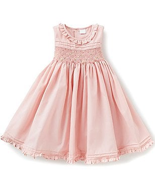 Edgehill Collection Little Girls 2T-4T Ruffled Smocked Embroidered-Pattern Dress