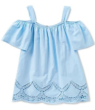 Takara Big Girls 7-16 Cold-Shoulder Laser-Cut Top