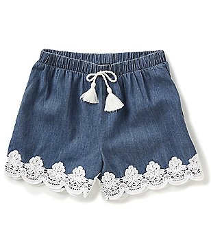 Takara Big Girls 7-16 Chambray Lace-Trim Shorts
