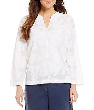 Tommy Bahama Clip Jacquard 3/4 Sleeve Top