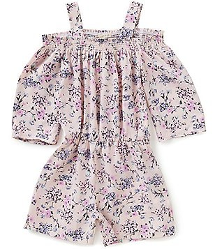 Copper Key Big Girls 7-16 Floral Print Cold Shoulder Romper