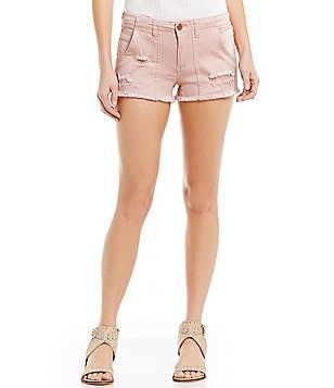 Copper Key Frayed-Hem Distressed Denim Shorts