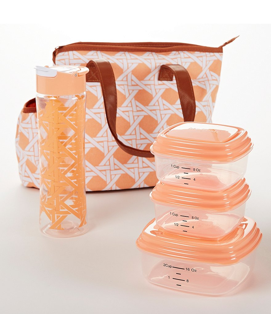 fit & fresh Camden Trellis Insulated Lunch Bag Kit