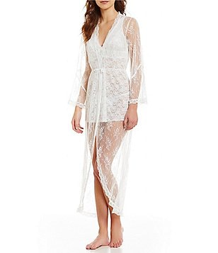 In Bloom by Jonquil Sheer Scalloped Lace Wrap Robe