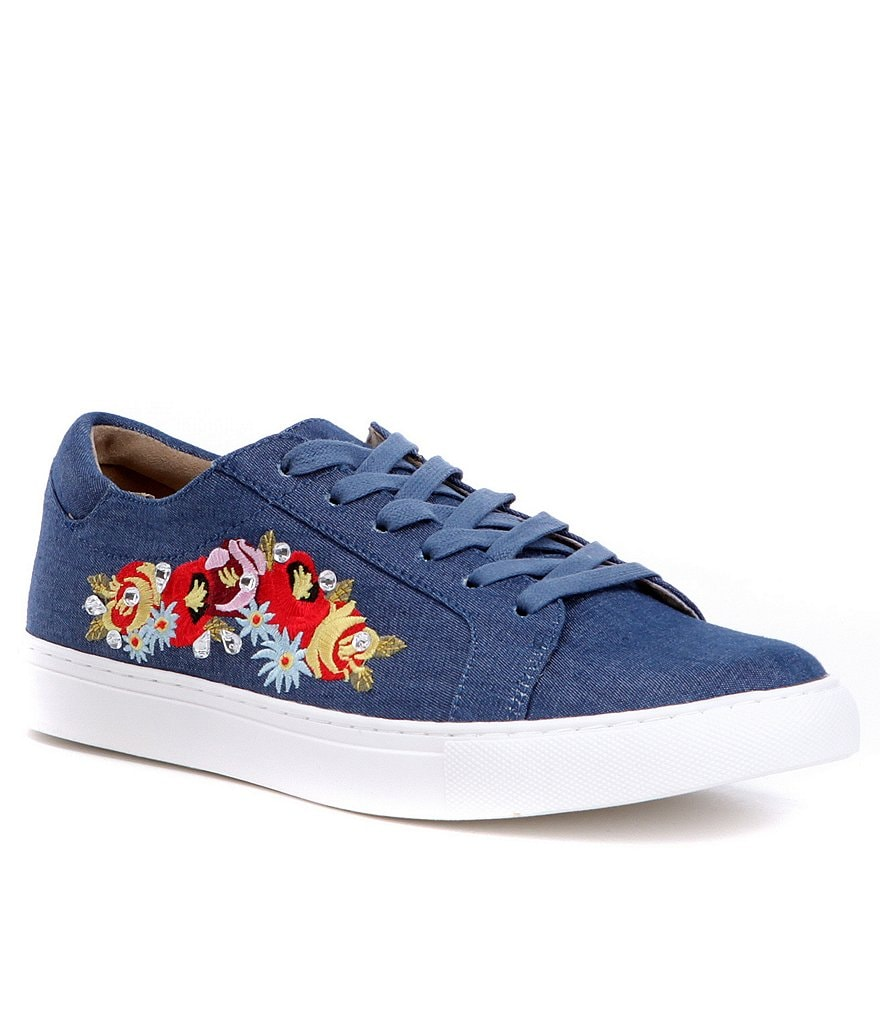 Kenneth Cole Reaction Kam-Era 5 Denim Floral Embroidered Sneakers