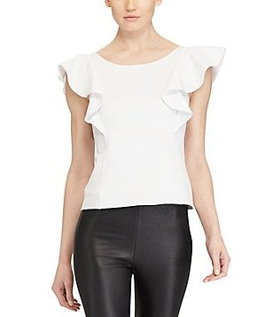Polo Ralph Lauren Ruffle-Sleeve Scoop-Back Top