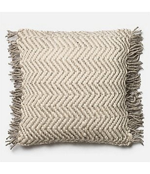 Magnolia Home by Joanna Gaines Messenger Fringed Oversized Square Feather Pillow