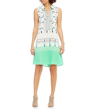 ZOZO Vintage Squares Collared Sleeveless Printed Shift Dress