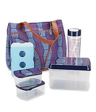 fit & fresh Williamsburg Speckle Blocks Insulated Lunch Kit