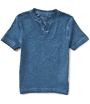 First Wave Little Boys 2T-7 Short-Sleeve Distressed-Wash Henley Tee